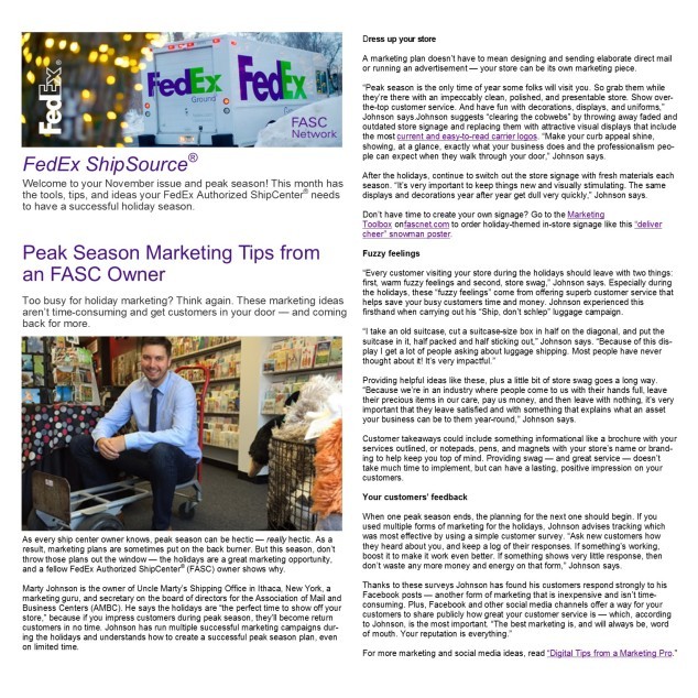 2015 11 06 - FedEx ShipSource Article (one page)