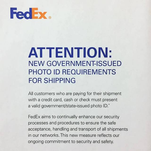FedEx ID Requirement
